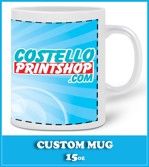 custom mug printing on Large 15oz white mugs
