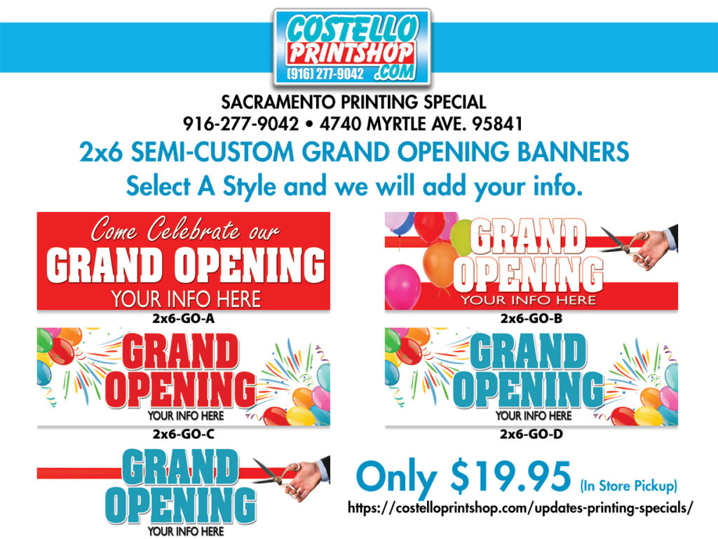 Sacramento Grand Opening Banners